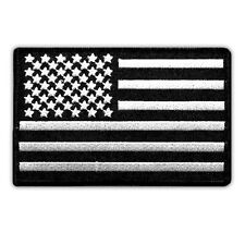 VEGASBEE® USA FLAG US EMBROIDERED PATCH SUBDUED BLACK-WHITE BLACK BORDER IRON-ON