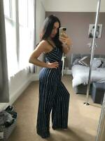 Roman Navy / White Jumpsuit Culotte Trousers Playsuit Stripes Womens  Uk Sizes