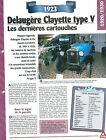 Delaugère Clayette type V 1923 France Car Auto FICHE FRANCE