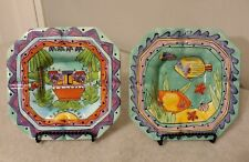 2 American Gift Hand Painted Square Multi Color Art Deco Ceramic Ashtrays 7 1/4""
