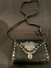 Harley Davidson Genuine Leather black silver purse