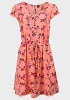 ladies new floral dress v neck,light fabric,cap sleeve, a line cut, button back