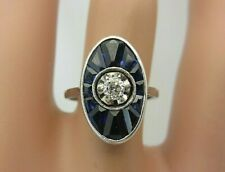 Vintage Antique 18K White Gold Blue Sapphire and Diamond Ring 2.12 ct