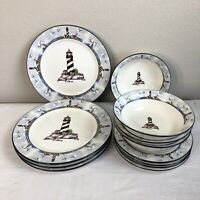 12 Piece Home Trends Lighthouse Dinnerware Set Dinner / Salad Plates Soup Bowls