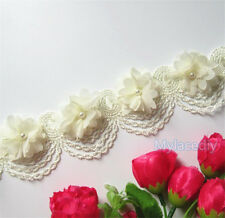 10x Flowers Pearl Lace Edge Trim Ribbon Vintage Wedding Embroidered Applique DIY