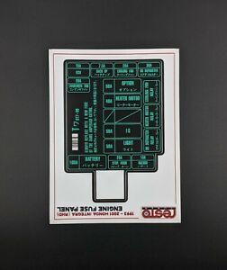 1993 -2001 RHD HONDA INTEGRA FUSE BOX DECAL REPLACEMENT DC ITR TYPE R JDM