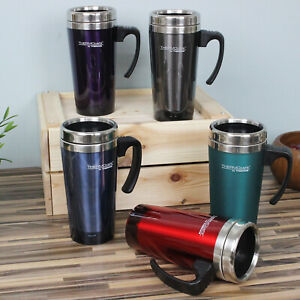 Thermos Stainless Steel Insulated Travel Mug Transluscent Coffee Tea Cup - 420ml
