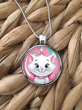 Marie White Cat Aristocats Disney Girls Cute Glass Pendant Silver Necklace NEW