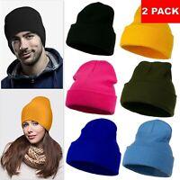 2 Pack Beanie Plain Knit Ski Hat Skull Cap Cuff Warm Winter Blank Unisex Beany