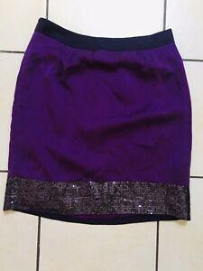 Ladies Boden Purple Silk Sequin Lined Skirt Size 12L