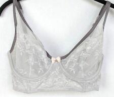 Victoria's Secret VS 32DD BBV Unlined Demi Bra Silver Embroidered Lace Underwire
