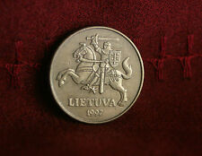 1997 Lithuania 50 Centu World Coin KM108 Amor clad Knight on Horse with Sword