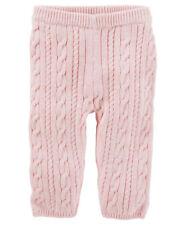 OSHKOSH Infant Girls Cable-Knit Pants - Pink NWT elastic...