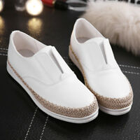 Women Weave Slip On Flat Shoes Boat Loafers Espadrilles Moccasin Sneakers A