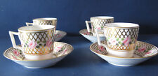 Stevenson and Hancock Derby English China Porcelain 4Cups and Saucers XIXThC