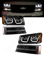Anzo 111312 Black U-Bar Headlights + LED Parking Lights for 2003-2006 Silverado