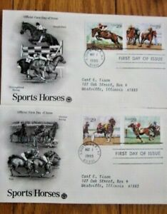 SPORT HORSES HARNESS POLO THOROUGHBRED 1993 4 STAMPS 2 PCS CACHET FDCS COMPLETE