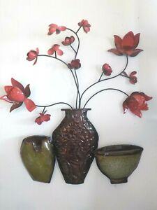 "Floral Home Metal Wall Art Decor  3D 24"" x 19"""