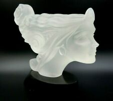 "LARGE ART DECO STYLE LUCITE 12"" LONG FEMALE MAST HEAD SCULPTURE ON BASE"