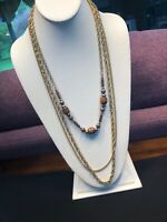 """Vintage Necklace Gold 3 Strand Wood Bead  Link Layered Sweater  Necklace 30"""""""