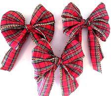 "Xmas tree bows set Tartan 8"" tree top bow plus 12 x 5"" bows"