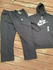 NIKE Club Futura Joggers + Hoodie Sportswear SWEATSUIT Fleece Black sz 4xl