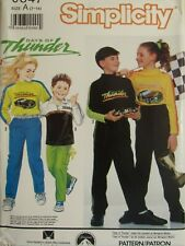 OOP SIMPLICITY Days of Thunder 9847 Boys/Girls Pants & Knit Tops PATTERN 7-14 UC