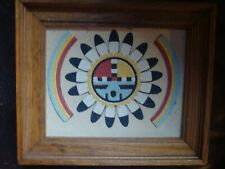 """Native American """"The Great God Spirit"""" Wood Framed Art Created with Dyed Sand"""