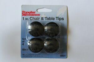 "Popular Mechanics Chair & Table Tips 4-Piece Set, 3/4"" or 1"", White, Black"