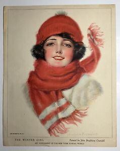 1920's Pin Up Flapper Girl Art ORIGINAL Print Bradshaw Crandell Winter Girl