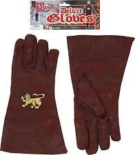 Medieval Brown Adult Gloves With Celtic Lion Insignia Forum Novelties
