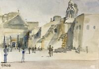 Alfred Behle 1935-97 Expressives Aquarell Personen in der Stadt Italien?