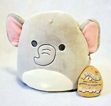 "Squishmallows 8"" Emma gray elephant baby rattle soft plush stuff animal toy"