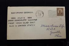 NAVAL COVER 1934 MACHINE CANCEL 100TH ANNIV 1ST IRON CLAD LAUNCHED IN U.S. (94)
