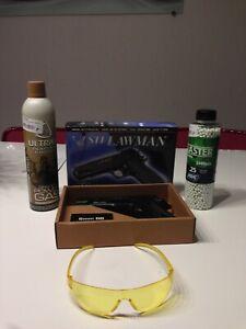 Pack Pistolet 1911 STI LAWMAN ABS GAZ + BILLES + GAZ + LUNETTE ASG