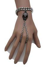 Women Silver Metal Bracelet Fashion Hand Chains Slave Ring Black Skeleton Skull