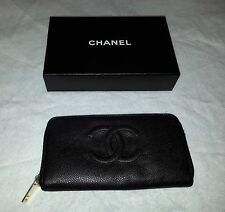 CHANEL Authentic CC Logos Quilted Long Wallet Purse  Leather Black Italy