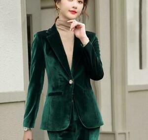 2pcs Suit Women's Velvet Blazer Pants Formal V-neck Lapel Fashion Slim Fit Chic