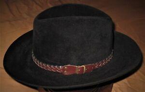 RARE Vintage THE IMPERIAL STETSON THE GUN CLUB Cowboy Fedora Hat Black 7 1/8