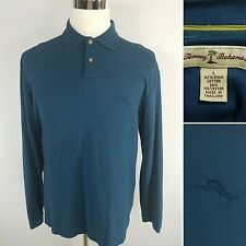 TOMMY BAHAMA Men's Large Blue Pima Cotton Blend Long Sleeve Polo Shirt Marlin