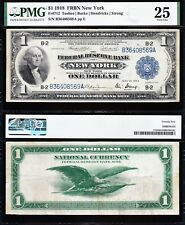 NICE Bold & Crisp VF+ 1918 $1 New York Green Eagle FRBN Note! PMG 25! B36408569A