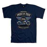Biker T-Shirt Motorrad vintage Oldtimer classic Harley Flathead *4254 navy-blau