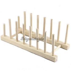Wooden Plate Rack Wood Stand Display Holder Lids Holds 7 New Heavy Duty NIGH
