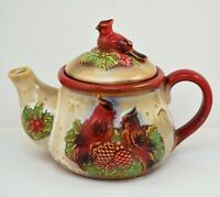VINTAGE CERAMIC TEAPOT CHRISTMAS RED CARDINAL BIRDS