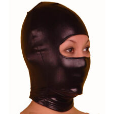 Black PVC Wet look Latex Mask fancy dress Hood, Spandex mouth covered Size M
