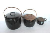 3 Pc Vintage Enamel Ware Black Cooking Pot Kitchenware Home Decor 5768 G-PY-19