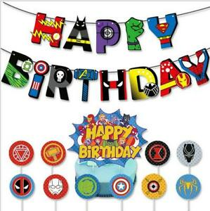 The Avengers Superhero Birthday Buntings Banner Garlands Cake Toppers Decoration