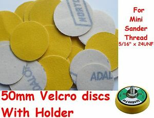 """50mm 120G Hook &  Loop  2"""" Sanding Discs With Holder Made By NORTON UK"""
