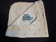 CRAZY 8 EIGHT GYMBOREE BABY BOY BLUE COTTON RECEIVING BLANKET TURTLES APPLIQUE