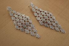 NWT Bridal Elegant White Crystal Pierced Draping Chandelier Earrings 46